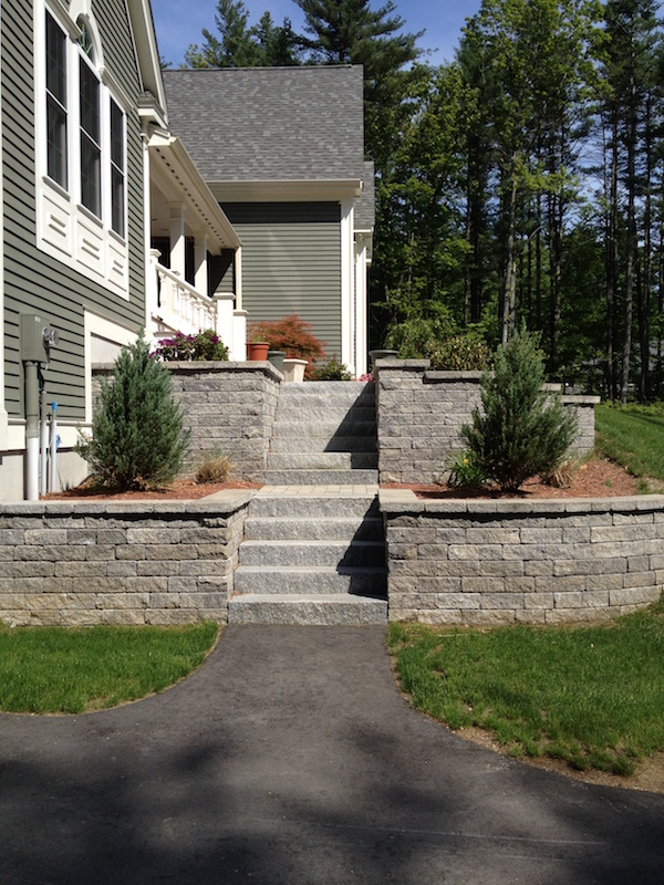 Retaining Wall And Granite Steps